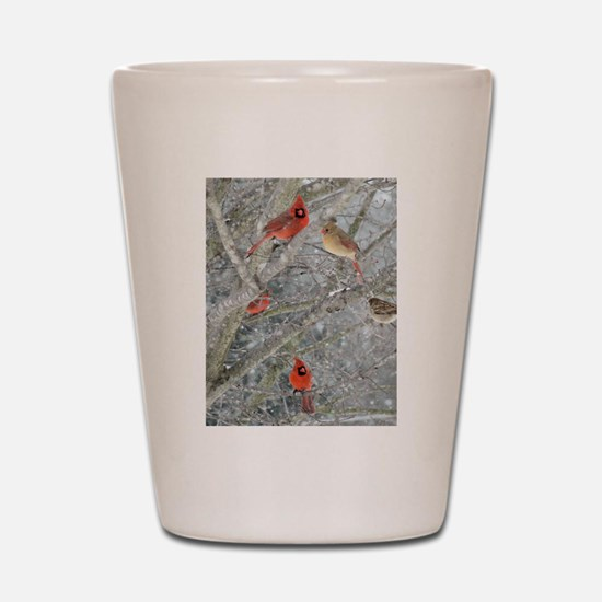 Cardinal Winter Shot Glass