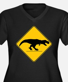T Rex Crossi Women's Plus Size V-Neck Dark T-Shirt