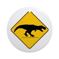 T Rex Crossing Ornament (Round)