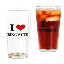 I Love Ringette Drinking Glass