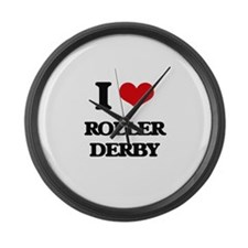 I Love Roller Derby Large Wall Clock