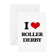 I Love Roller Derby Greeting Cards
