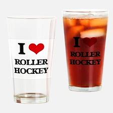 I Love Roller Hockey Drinking Glass