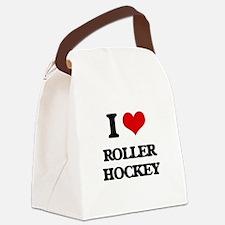 I Love Roller Hockey Canvas Lunch Bag