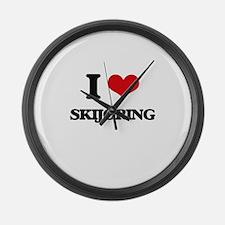 I Love Skijoring Large Wall Clock