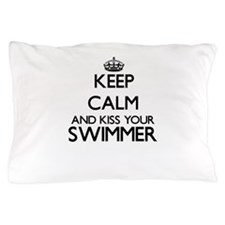 Keep calm and kiss your Swimmer Pillow Case
