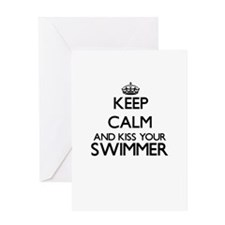 Keep calm and kiss your Swimmer Greeting Cards