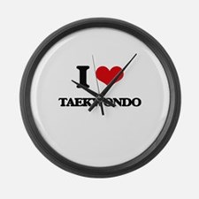 I Love Taekwondo Large Wall Clock