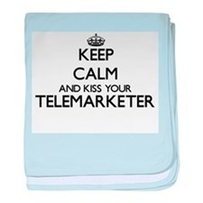Keep calm and kiss your Telemarketer baby blanket