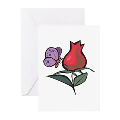 Cute Butterfly & Tulip Design Greeting Cards (Pack