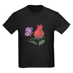 Cute Butterfly & Tulip Design Kids Dark T-Shirt