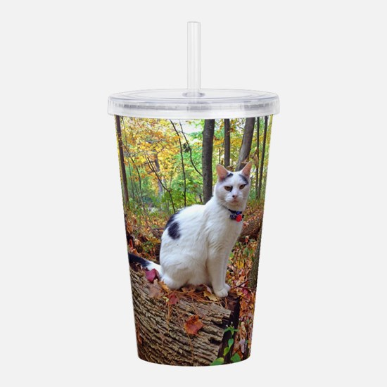 Forest Cat Acrylic Double-wall Tumbler