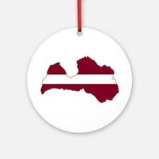 LatviaFlagMap Ornament (Round)