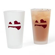 LatviaFlagMap Drinking Glass