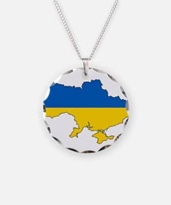 Ukraine Flag and Map Necklace