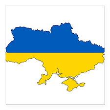 "Ukraine Flag and Map Square Car Magnet 3"" x 3"""
