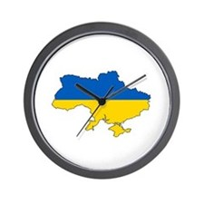 Ukraine Flag and Map Wall Clock