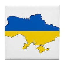 Ukraine Flag and Map Tile Coaster