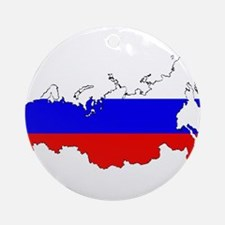 Russian Flag Map Ornament (Round)
