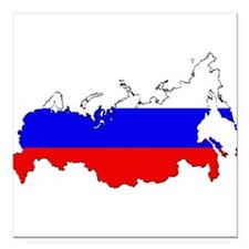 "Russian Flag Map Square Car Magnet 3"" x 3"""