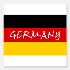"German Flag Square Car Magnet 3"" x 3"""