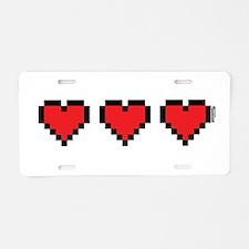 3 Hearts Aluminum License Plate