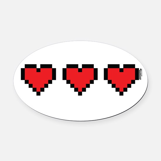 3 Hearts Oval Car Magnet