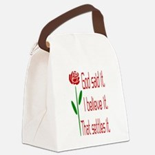 Red Rose God Said It Canvas Lunch Bag