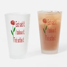 Red Rose God Said It Drinking Glass