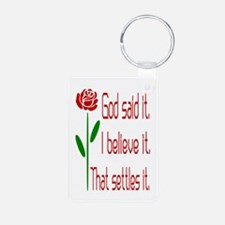Red Rose God Said It Keychains