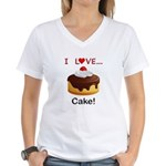 I Love Cake Women's V-Neck T-Shirt