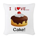 I Love Cake Woven Throw Pillow