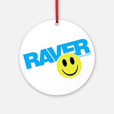 Raver Smiley Ornament (Round)