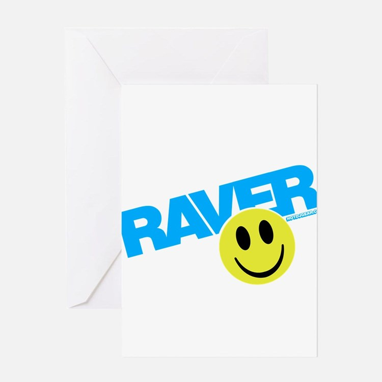 Raver Smiley Greeting Cards