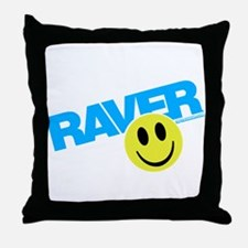 Raver Smiley Throw Pillow