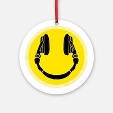 DJ Headphones Smiley Ornament (Round)
