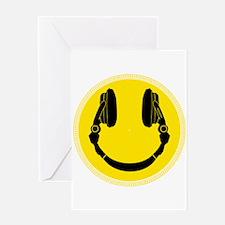 DJ Headphones Smiley Greeting Cards
