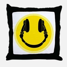 DJ Headphones Smiley Throw Pillow