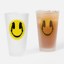 DJ Headphones Smiley Drinking Glass