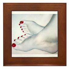 Bare Feet Drawing Framed Tile
