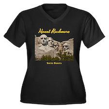 Mount Rushmo Women's Plus Size V-Neck Dark T-Shirt