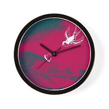 White Bird Heart Wall Clock