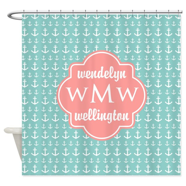 Coral White Anchors Mint Green Mono Shower Curtain By