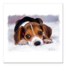 "Pocket Beagle painting Square Car Magnet 3"" x 3"""
