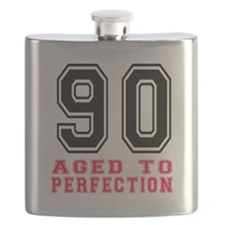 90 Aged To Perfection Birthday Designs Flask
