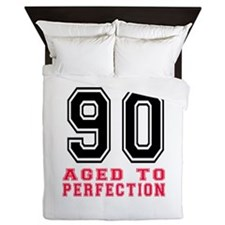 90 Aged To Perfection Birthday Designs Queen Duvet