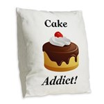 Cake Addict Burlap Throw Pillow