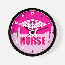 Nurse Pink Heartbeat Wall Clock