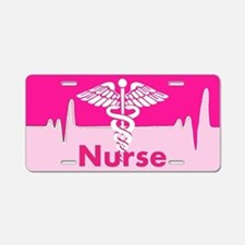 Nurse Pink Heartbeat Aluminum License Plate