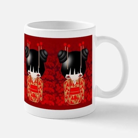 Good Luck Kokeshi Doll Mug Mugs